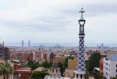 View from Antoni Gaudi Park Guell, Barcelona. Spain Royalty Free Stock Photography