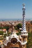 View from Antoni Gaudi's Park Guell, Barcelona. View from Antoni Gaudi's Park Guell. Barcelona, Spain, and the Mediterranian Sea in the background stock images