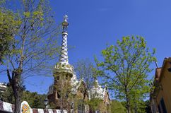 View of Antoni Gaudi s Park Guell, Barcelona, Spain. View of Antoni Gaudi s Park Guell, Barcelona, Spain under a blue sky royalty free stock photo