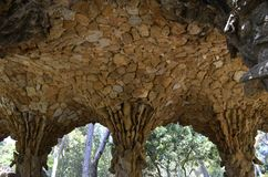 Detailed view closeup of Antoni Gaudi s Park Guell, Barcelona, Spain. stock photography
