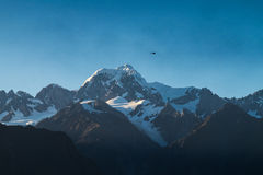 View of Aoraki Mount Cook and Mount Tasman from Lake Matheson, New Zealand Royalty Free Stock Photography