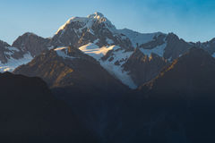 View of Aoraki Mount Cook and Mount Tasman from Lake Matheson, New Zealand Stock Photos