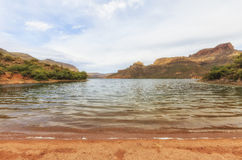 View of Apache lake, Arizona. View of Apache Lake which is located at Apache trail scenic drive in Arizona, close to Phoenix. The place is very popular for royalty free stock photo