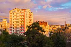 View of apartment buildings at sunset, Sochi, Russia Royalty Free Stock Photo