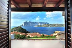 Capo Coda Cavallo in sardinia. A view from an apartment at Capo Coda Cavallo on Tavolara island in Sardinia royalty free stock photography
