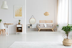 View of apartment design. View of stylish white apartment design in lagom style royalty free stock photos