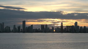 View Of Apartment Towers in Cartagena, Colombia - Skyscapers by night stock video