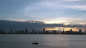 View Of Apartment Towers in Cartagena, Colombia - Skyscapers by night stock footage