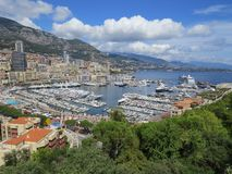 View apartments and luxury yachts in harbor Hercule, Monaco stock photo