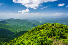 View of the Appalachian Mountains from Craggy Pinnacle, on the B. Lue Ridge Parkway, North Carolina stock photography