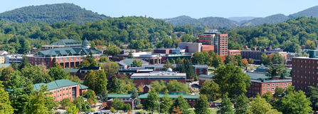 View on Appalachian State University. Panoramic view on Appalachian State University campus in Boone, NC Stock Image