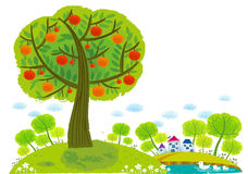 The view of apple tree around lake Stock Photography