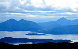 View from the Applecross peninsula, Scotland. View from the Applecross peninsula looking over towards the Cuillins, the Isle of Skye and Raasay Stock Images
