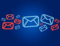Approved email and spam message displayed on a futuristic interf. View of a Approved email and spam message displayed on a futuristic interface - Message and Royalty Free Stock Images