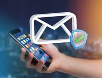 Approved and verified Email symbol displayed on a futuristic int. View of a Approved and verified Email symbol displayed on a futuristic interface - Message and Royalty Free Stock Photos