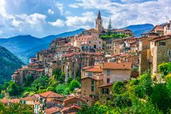 View of Apricale in the Province of Imperia, Liguria, Italy.  stock photo