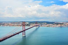 View of 25 April bridge in Lisbon. Portugal. royalty free stock photography