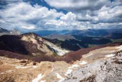 View from the Apuan Alps. Towards East, in April Royalty Free Stock Image