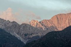 View of apuan alps. In winter time  , italy Stock Image
