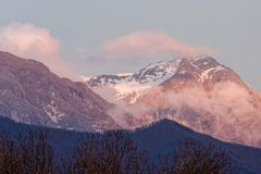 View of apuan alps. In winter time  , italy Royalty Free Stock Photo