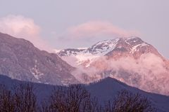 View of apuan alps. In winter time  , italy Royalty Free Stock Image