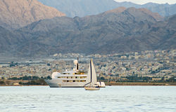 View on the Aqaba city and pleasure yachts Stock Photography