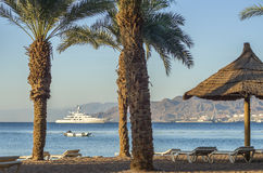 View on Aqaba gulf from beach of Eilat Stock Images