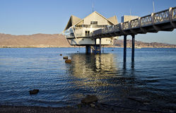 View on the Aqaba gulf from Eilat, Israel stock images