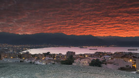 View on the Aqaba gulf from Eilat. Sunrise at Eilat and Aqaba both are famous resort cities in the Middle East Royalty Free Stock Photo