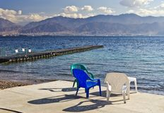 View on Aqaba gulf and Jordanian mountains Stock Images