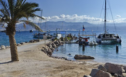 View on Aqaba gulf and Jordanian mountains Royalty Free Stock Image