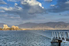 View on the Aqaba gulf and resort hotels of Eilat, Israel Royalty Free Stock Photos