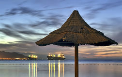 View on Aqaba gulf after sunset, Israel Stock Photo