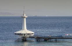 View on the Aqaba gulf and underwater observatory, Eilat, Israel Royalty Free Stock Photo