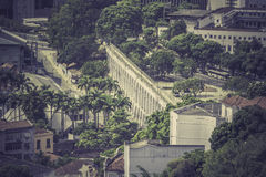 View of the aqueduct arches in Downtown Rio de Janeiro Stock Images