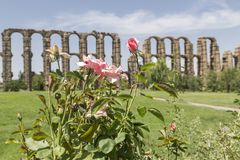 Acueducto de los Milagros, Merida, Spain. View of the Aqueduct of the Miracles in Merida, Spain Royalty Free Stock Photography