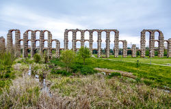 View of Aqueduct of the Miracles in Merida, Spain. View of Aqueduct of the Miracles in Merida, Extremadura Spain Royalty Free Stock Image