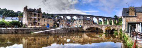 Panoramic view of the aqueduct and old port Dinan royalty free stock photos