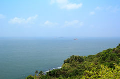 View of the Arabian Sea from the walls of the fort Aguada, Goa, India. Royalty Free Stock Photo