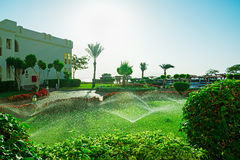 View of arabic style villas in luxury hotel Royalty Free Stock Photo