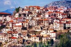The view of Arachova town. The view on Arachova town near Delphi, Greece Stock Photo