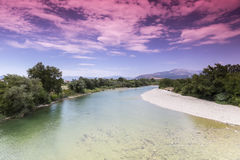 View of Arachthos river of Arta city, Epirus Greece.  Royalty Free Stock Image