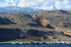 View into the Aradena gorge from the Libyan Sea side Crete Stock Photography