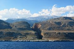 View into the Aradena gorge from the Libyan Sea side Crete Royalty Free Stock Photos