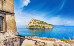 Aragonese Castle is most visited landmark near Ischia island, It. View on Aragonese Castle from Michelangelo or Guevara Tower. Castello Aragonese is most visited Stock Photos