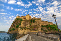 View on Aragonese castle at sunset, Ischia, Italy Stock Image