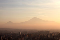 View of Ararat mount over Yerevan. In the morning, Armenia Royalty Free Stock Photo