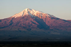 View on Ararat mountain. Ararat mountain during dramatic sunrise, symbol of Armenia Royalty Free Stock Photo