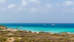View of Arashi Beach, Aruba. Beautiful beach Stock Image