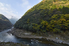 View of Arashiyama in Kyoto during Autumn Stock Photo